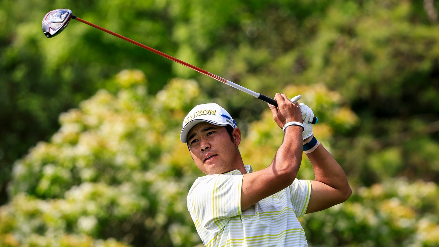 Hideki Matsuyama plays from the No. 5 tee during the final round of the 2021 Masters. image