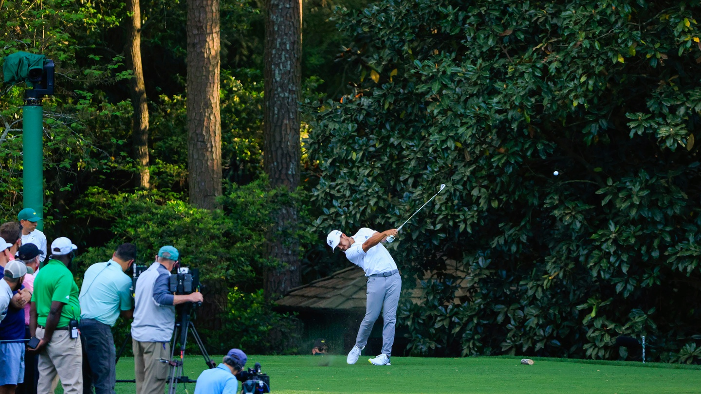Xander Schauffele plays from the No. 16 tee during the final round of the 2021 Masters. image