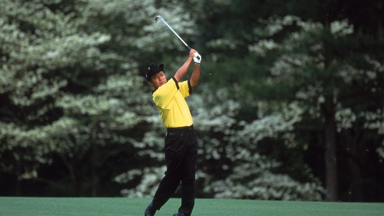 Shingo Katayama of Japan follows through during the 2021 Masters Tournament at the Augusta National Golf Club. image